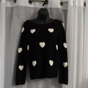 Black sparkly heart sweater